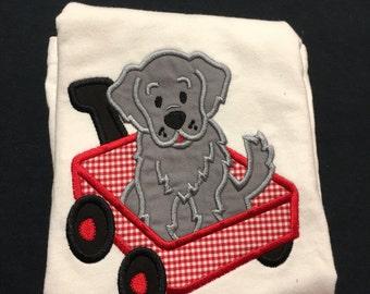 Baby Boy Appliqued Puppy Wagon Personalized Newborn to 18 Months Bodysuit Boys 12 months -18 months 3T, 4T or 5T tshirt