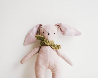Teething Rabbit Toy, Kids Rabbit Bunny, Pastel Baby Rabbit Bunny Toy, Linen Handmade Bunny, Soft Animal Toys, Gift For A Baby