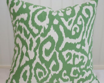 Green and White Animal Print Pillow Cover / 16 X 16 / Upholstery with Natural Canvas Back / Handmade Home Decor Accent Pillow