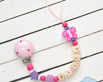 Personalized Name Soother Clip, Pacifier Holder, YOUR BABY NAME, Wood Beads