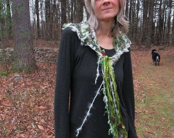hand knit soft art yarn enchanted forest beaded cape triangle scarf - winter pine tree dream fantasy scarf
