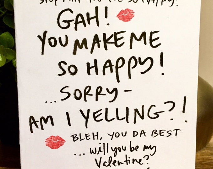 Valentine Ramble, Valentine's Day Rant, hand lettered valentines day card, handmade valentine, you make me so happy card, be my valentine