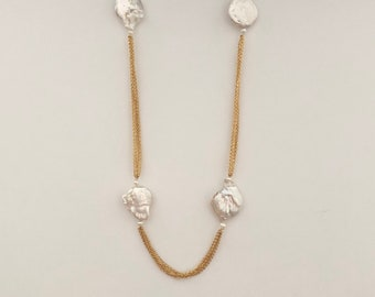 Pearl chain necklace, chains and pearl necklace, multi chain baroque pearl necklace
