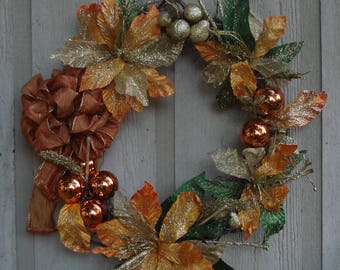 "25"" Gold and Orange Poinsettia Christmas Wreath"