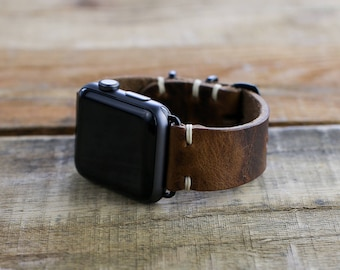 Leather Apple Watch Strap | 38mm 42mm Apple Watch Band | Series 1 Series 2 Series 3 | Dark Brown Horween Brown Nut Leather | Slide Hardware