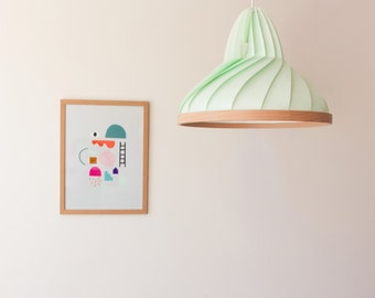 NEW: paper and wood lamp Wave pastel green