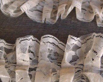 "Ivory Ruffled Lace Chantilly trim for bridal, baby, lingerie Ribbon 3"" x 5 YARDS"
