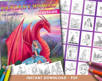 Printable Digital PDF - Fantasy World Coloring book for adults GRAYSCALE by Alena Lazareva Adult Coloring, instant DOWNLOAD. Coloring pages