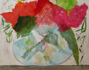 Flowers in a Vase Collage on Canvas