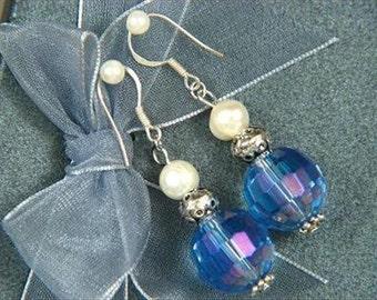 earrings FW Pearls Blue Crystal 14mm Facet Beads 925 EHXU0331