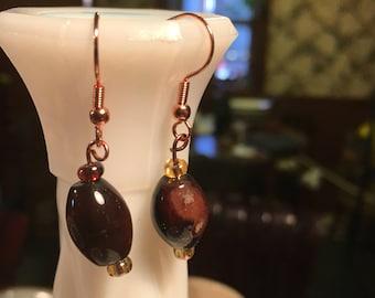 Dark brown oval earrings
