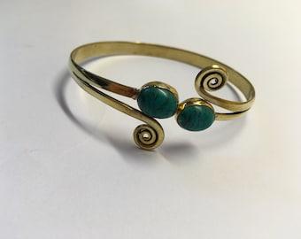 Turquoise brass bracelet
