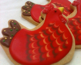 CHICKEN COOKIES, 12 Decorated Sugar Cookie Party Favors