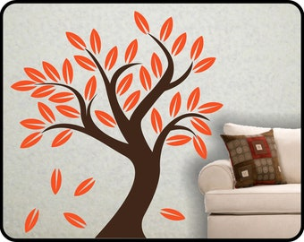 """Autumn Blowing Tree wall decal  - fun Fall Vinyl Tree wall mural - Choose your colors 60"""" x 56"""""""