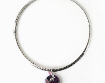 Bold Amethyst Stone Pendant Necklace with Bunny Charm on Stainless Steel Flat Snake Chain