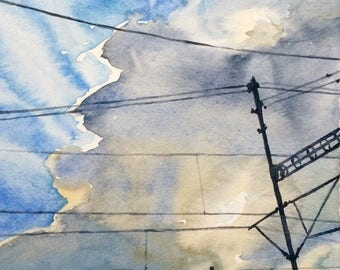 Sky painting, cloud painting, Sky watercolor, cloud watercolor, urban painting, urban landscape, urban watercolor, Cloudscape, Skyscape