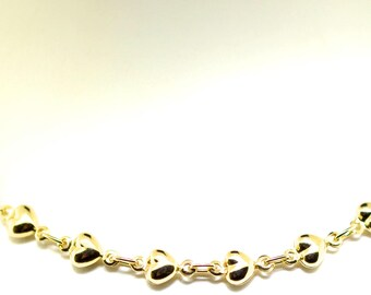 14k Yellow Gold Multi Heart Necklace. 18 inches