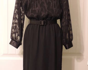 Vintage 1990's Black with sheer bodice with design dress, office, party, evening. Willi of California size 14