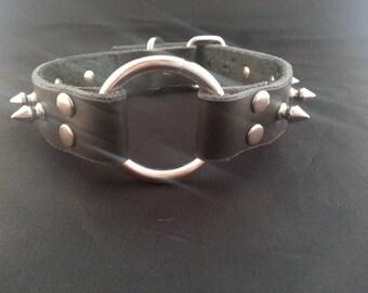 O Ring Choker - Spiked Choker - Handmade - Real Leather