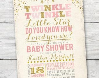 Twinkle Twinkle Little Star Baby Shower Invitation, Twinkle Twinkle Little Star Baby Shower, PRINTABLE Little Star Invitation, pink and gold