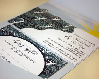 Beach Wedding Invitation, Coast Wedding Invite, Blue, Yacht Invitation Suite, Boat Invites, Blue Waves