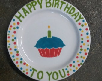 Happy Birthday Hand painted Plate
