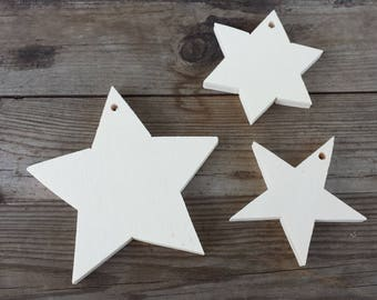 Star SHAPES SILHOUETTES in plywood, with hole for hanging, to decorate-Christmas decorations, Christmas