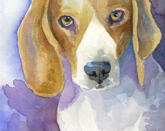 Beagle Art Print of Original Watercolor Painting - 8x10 Dog Art