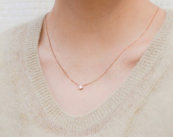Tiny CZ Rose Gold Necklace, Dainty Rose Gold Necklace, Cubic Zirconia Necklace, CZ Necklace, minimal, Rose gold necklace