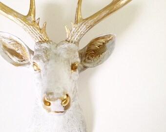 CUSTOM White-Gold rub-brush finish Xl Faux Taxidermy Deer head wall mount hanging  / faux finish / farmhouse decor / unique / 2-3 WEEK WAIT