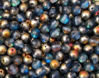 Czech Glass Round Druk Beads, 6mm, Light Sapphire Marea, 50 Pc. C532