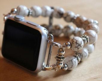 Apple Watch Band, Watch Band for Apple Watch, Watch Bracelet for Apple Watch, White and Brown Watch Band for Apple Watch