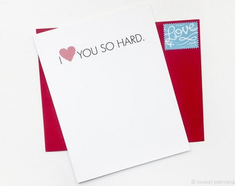 Valentines Day Card. Love Card. Friendship Card. Heart You So Hard.
