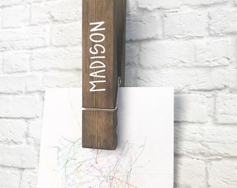 Personalized Kids Decor-Artwork hanger-Look what I made-Large Clothespin-Farmhouse style-Kids Room Decor-Chores list