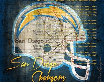 San Diego Chargers - Retro City Map with Chargers Fight Song - Perfect Christmas Birthday, Anniversary, or Christmas Gift - Unframed Print