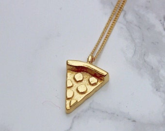 Pizza Necklace, Pizza Jewelry, Pizza Emoji Necklace, 3D Pizza Jewelry, Pizza, 24k Gold pizza, Pizza Slice, Silver Pizza Slice
