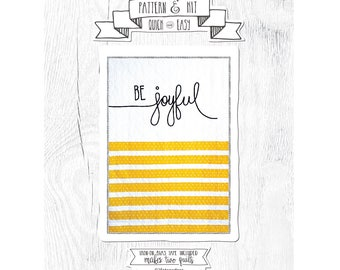 NEW Quilt Pattern - Comes with Fusible Bias Tape. Cursive Quilt - Be Joyful Quilt Pattern.  Baby Quilt Pattern.  Pattern and Kit.
