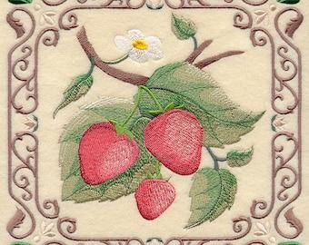 Embroiodered Handmade Linen  Kitchen Tea Towel, Fresh Strawberries Tea Towel, Tea Towel, Personalized Freel