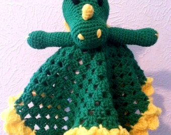 Dragon Lovey Crochet Security Blanket, Green Crochet Blanket, Dragon Buddy Blanket, Fairy Tale Creature, Made to Order