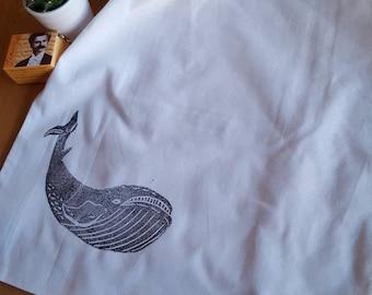 """Cotton bag """"whale"""" (long handles)"""
