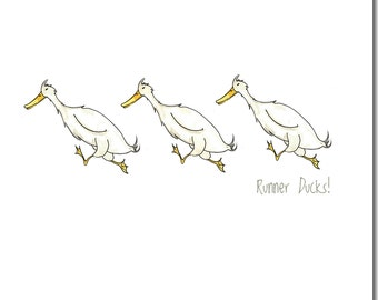 Runner Ducks Greeting Card - Funny Duck Card, Barnyard, Friendship, Blank Inside