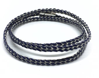 Triple bracelet mens leather and steel.