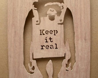 Banksy Keep It Real Chimp Stencil