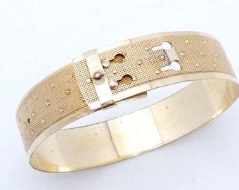 Vintage Victorian Revival Gold Filled Adjustable Bangle Bracelet 23651