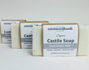 Castile Soap · 100% Olive Oil Soap · Organic · Vegan · Palm Oil Free · Fragrance Free · Baby · Gentle · Sensitive Skin