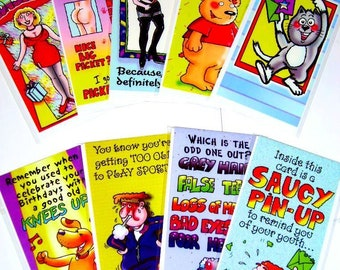 60 Cards SLIM HUMOROUS CARDS! 10 designs x 6, not wrapped - We also have birthday cards / christmas cards / thank you cards