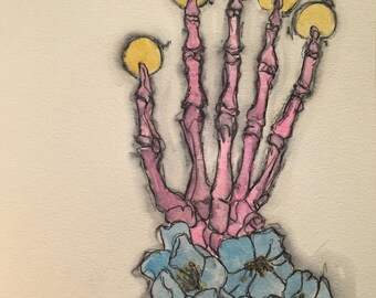 Blue flowers and skeleton watercolor