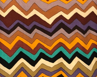"OOP 16.5"" cut PWTM10 TM10 Terrie Mangat 2009 Los Sanctos Zig Zag Stripe Brown Quilting Westminster Half Yard Quilt Sewing 100% Cotton Fabric"