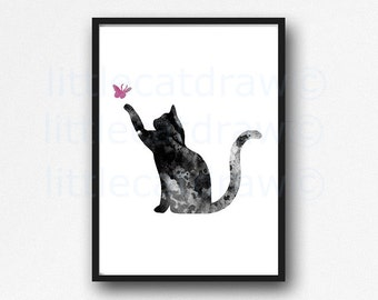 Cat Print Black Cat with Pink Butterfly Watercolor Painting Print Kitty Cat Kitten Art Print Wall Art Wall Decor Cat Lover Gift Unframed