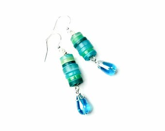 Turquoise Blue Aqua Dangle Earrings, Button Jewelry, Repurposed Buttons, Upcycled Jewelry